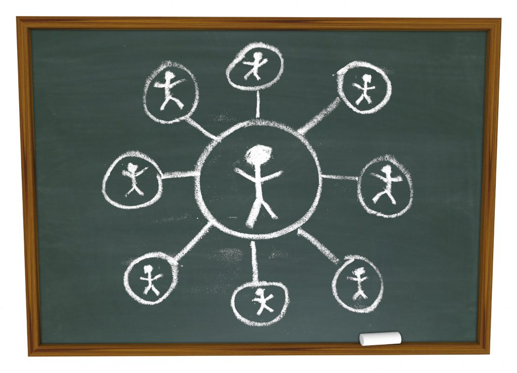 Social Network – Connections Drawn on Chalkboard